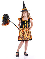 cheap -Witch Cosplay Costume Adults' Girls' Halloween Halloween Halloween Festival / Holiday Terylene Orange Easy Carnival Costumes Other / Dress / Hat