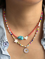 cheap -Necklace Women's Beads Imitation Pearl Flower Colorful Holiday Casual / Sporty Cute Boho Watermelon Rainbow 40 cm Necklace Jewelry 1pc for Street Gift Holiday Prom Festival