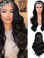 cheap -Headband Wig,Body Wavy Headband Wigs for Black Women,Long Black Wig Glueless Synthetic Wig Heat Friendly 24 Inch Daily Party Use