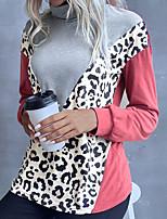 cheap -Women's T shirt Color Block Leopard Long Sleeve Patchwork Print High Neck Basic Tops Gray