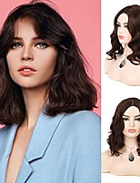 cheap -short dark brown wigs for women synthetic middle part wavy bob hair wig for daily party cosplay