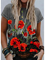 cheap -floral round neck short sleeve t-shirts