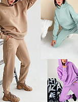 cheap -Women's Sweatsuit 2 Piece Pocket Hoodie Spandex Solid Color Sport Athleisure Clothing Suit Long Sleeve Breathable Soft Comfortable Everyday Use Street Casual Daily Outdoor / Winter
