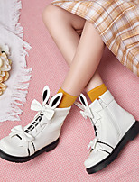 cheap -Women's Boots Flat Heel Round Toe Booties Ankle Boots Party Wedding PU Bowknot Color Block White Black Light Pink / Booties / Ankle Boots