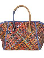 cheap -Women's Bags Cowhide Top Handle Bag Zipper Classic Leather Braided Shopping Going out Evening Bag 2021 Handbags Rainbow