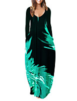 cheap -Women's Shift Dress Maxi long Dress Blue Green Red Long Sleeve Color Gradient Pocket Fall Winter V Neck Vintage Regular Fit 2021 S M L XL