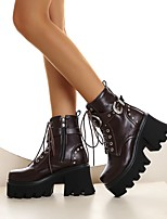 cheap -Women's Boots Chunky Heel Round Toe Booties Ankle Boots Daily Work PU Buckle Lace-up Solid Colored Light Brown Black / Booties / Ankle Boots