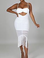 cheap -Women's Sheath Dress Knee Length Dress White Black Sleeveless Solid Color Backless Tassel Fringe Ruffle Fall Summer Boat Neck Casual Sexy 2021 S M L XL XXL / Party Dress / Hollow To Waist