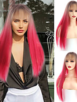 cheap -Long Straight Omber Brown and Red Natural With Bang Wig Synthetic Wigs for Women Cosplay Part Wig Heat Resistant Fiber