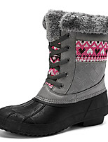 cheap -Women's Boots Snow Boots Flat Heel Round Toe Booties Ankle Boots Daily Outdoor Nubuck Solid Colored Gray Khaki Black