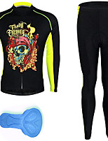 cheap -21Grams Men's Long Sleeve Cycling Jersey with Tights Spandex Polyester Black / Yellow Skull Funny Bike Clothing Suit 3D Pad Quick Dry Moisture Wicking Breathable Back Pocket Sports Patterned Mountain