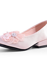 cheap -Girls' Heels Flower Girl Shoes Princess Shoes Satin Little Kids(4-7ys) Big Kids(7years +) Wedding Party Party & Evening Rhinestone Flower Light Pink Champagne Ivory Fall Spring