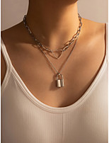 cheap -Layered Necklace Men's Women's Geometrical Vertical / Gold bar Modern European Cool Silver 40 cm Necklace Jewelry 1pc for Carnival Club Cuboid