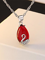 cheap -Pendant Necklace Necklace Women's Classic Cubic Zirconia Sterling Silver Simple Fashion Classic Casual / Sporty Sweet Cute Peacock Green Burgundy 45 cm Necklace Jewelry 1pc for Street Gift Daily Prom