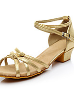cheap -Women's Latin Shoes Simple Thick Heel Silver Gold Black / Girls'