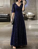cheap -A-Line Glittering Elegant Prom Formal Evening Dress V Neck Half Sleeve Floor Length Tulle with Sequin 2021
