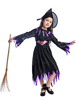 cheap -Witch Dress Kid's Girls' Dresses Halloween Halloween Halloween Festival / Holiday Polyster Purple Easy Carnival Costumes Solid Color / Hat / Waist Belt