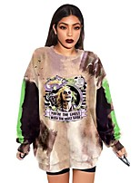 cheap -Women's Sweatshirt Pullover Tie Dye Text Graphic Prints Print Crew Neck Casual Daily Basic Streetwear Hoodies Sweatshirts  Loose Gray Khaki Dark Gray