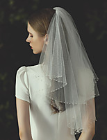 cheap -Two-tier Stylish / Luxury Wedding Veil Elbow Veils with Beading Tulle