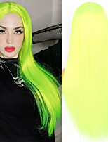 cheap -Long Straight Neon Yellow Wig for Women Natural Middle Part Lace Wigs Cosplay Party DJ Occasion Heat Resistant Fiber