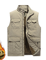 cheap -Men's Vest Gilet Daily Going out Winter Short Coat Zipper Stand Collar Regular Fit Breathable Casual Jacket Sleeveless Plain Pocket Blue Khaki Army Green