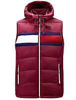 cheap -Men's Vest Gilet Street Daily Fall Winter Regular Coat Zipper Hoodie Regular Fit Thermal Warm Breathable Casual Jacket Sleeveless Color Block Quilted Drawstring Blue Wine Royal Blue / Pocket