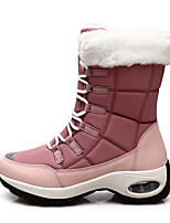 cheap -Women's Boots Snow Boots Flat Heel Round Toe Mid Calf Boots Daily Work Faux Fur PU Solid Colored Pink Black Beige