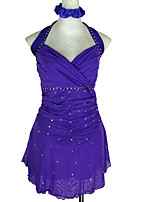 cheap -Figure Skating Dress Women's Girls' Ice Skating Dress Blue Open Back Patchwork Spandex High Elasticity Competition Skating Wear Crystal / Rhinestone Sleeveless Ice Skating Figure Skating / Kids