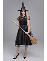 cheap -Witch Dress Cosplay Costume Adults' Women's Halloween Halloween Festival Halloween Festival / Holiday Terylene Black Women's Easy Carnival Costumes Solid Color / Hat