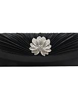 cheap -Women's Bags Satin Evening Bag Glitter Buttons Rhinestone Party / Evening Date Evening Bag Silver Black Red