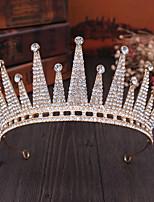 cheap -Bridal Crown Headdress Crown Golden Large Hair Accessories Obaroque Crystal Diamond Headband