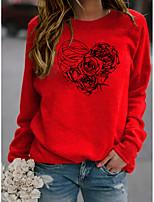cheap -Women's Sweatshirt Graphic Heart Skeleton Print Sports & Outdoor Casual Daily Hot Stamping Basic Hoodies Sweatshirts  Wine Red Yellow Gray