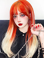 cheap -Orange wig Long straight tube synthetic wig with bangs wig female African American LOLITA wig female