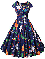 cheap -Santa Suit Audrey Hepburn Dress Swing Dress Adults' Women's Vintage Festival Christmas New Year Festival / Holiday Terylene Red+Black / Blue / Pink Women's Easy Carnival Costumes Snowflake
