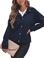 cheap -Women's Jacket Daily Fall Winter Regular Coat Single Breasted Turndown Loose Warm Casual Jacket Long Sleeve Plain Oversized Royal Blue White Black