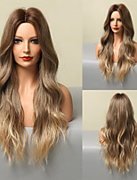 cheap -HAIR CUBE Ombre Blonde Brown Highlight Long Wave Wigs Middle Part Synthetic Hair Wigs for Women Heat Resistant Cospaly Wig