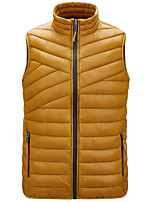 cheap -Men's Vest Gilet Street Daily Fall Winter Regular Coat Zipper Stand Collar Regular Fit Thermal Warm Breathable Casual Jacket Sleeveless Solid Color Quilted Pocket Blue Wine Ginger