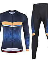 cheap -21Grams Men's Long Sleeve Cycling Jersey with Tights Spandex Red Blue Bike Quick Dry Moisture Wicking Sports Grid / Plaid Mountain Bike MTB Road Bike Cycling Clothing Apparel / Stretchy / Athletic