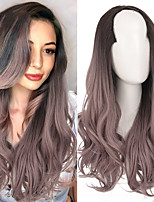 cheap -Ombre Long Deep Wavy Synthetic U Shaped Wigs for Women Black Brown Ombre 3/4 Half Wigs Hair Piece Extensions Daily Use