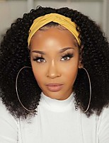 cheap -Headband Wigs for Black Women Kinky Curly Headband Wig Human Hair 9A Glueless None Lace Front Wigs 150% Density Afro Kinky Curly Half Wigs Natural Color 12-30 Inch