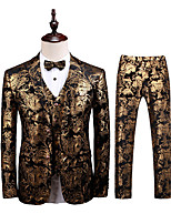 cheap -Men's Wedding Suits 3 pcs Shawl Collar Tailored Fit Single Breasted Two-buttons Patch Pocket Patterned Polyester