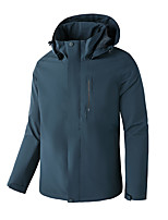 cheap -Men's Hoodie Jacket Hiking Jacket Hiking Windbreaker Winter Outdoor Solid Color Thermal Warm Waterproof Windproof Warm Outerwear Trench Coat Top Full Length Visible Zipper Skiing Fishing Climbing Red