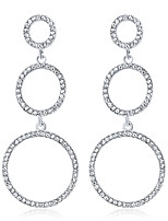 cheap -Women's Drop Earrings Earrings Round Cut Twist Circle Simple Fashion European Imitation Diamond Earrings Jewelry Silver For Party Wedding Anniversary Gift Engagement