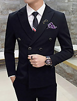 cheap -Men's Wedding Suits 3 pcs Notch Tailored Fit Double Breasted Four-buttons Patch Pocket Solid Colored Cotton