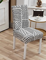 cheap -Stretch Kitchen Chair Cover Slipcover for Dinning Party Geometric Striped Four Seasons Universal Super Soft Fabric Retro Hot Sale