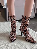 cheap -Women's Boots High Heel Pointed Toe PU Snake Black Brown