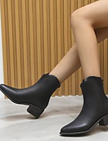 cheap -Women's Boots Chunky Heel Round Toe Rubber PU Solid Colored Black