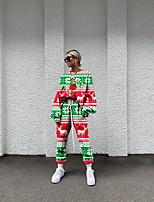 cheap -Women's Basic Streetwear Print Christmas Vacation Two Piece Set Tracksuit T shirt Pant Loungewear Jogger Pants Drawstring Print Tops