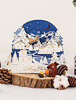 cheap -creative cross-border foreign trade three-dimensional blessing christmas greeting card blue business thank you hollow hot stamping empty card tranquil