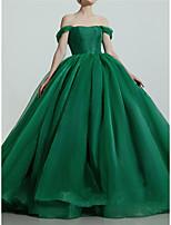 cheap -Ball Gown Luxurious Princess Quinceanera Prom Dress Off Shoulder Short Sleeve Sweep / Brush Train Organza with Sleek Pleats 2021